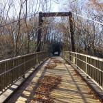 きすげ橋に木々の長い影がさす。